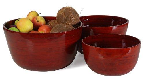 Bambus Schalen,rot, Übertöpfe 3er Set Design Schale, Deko, Dekoration, Dekoschale, dunkel rot 35 cm, 20 cm