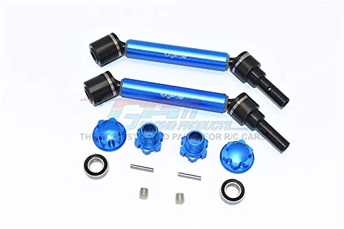Traxxas 1/10 Maxx 4WD Monster Truck Upgrade Parts Harden Steel+Aluminum Front Or Rear Adjustable CVD Drive Shaft + Hex Adapter + Wheel Lock - 12Pc Set Blue