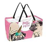 Bolsa de comestibles reutilizable grande, resistente bolsa de compras con parte inferior reforzada y asa (divertido estampado de cachorro Hello Pugicorn)