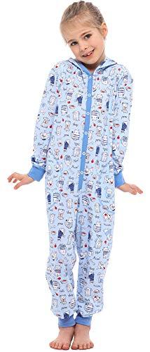 Merry Style Combinaison Pyjama Vêtement d'Intérieur avec Capuche Fille MS10-223 (Bleu Canine Chat,...