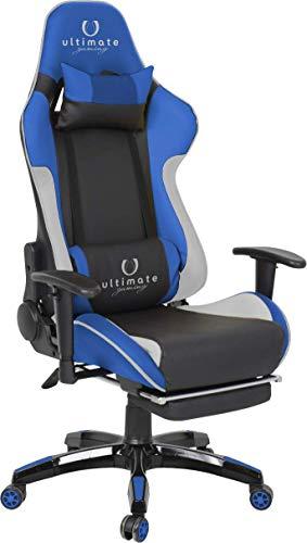 Ultimate Gaming Orion Silla Gaming, Poliuretano, Azul, Blanco y Negro, Grande