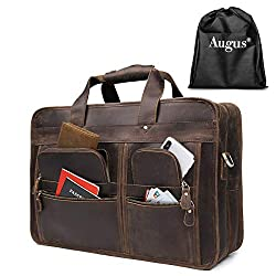 "Augus 17"" Leather Laptop Briefcases, Messenger bag"