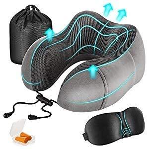 Newdora Reisekissen Memory Foam Nackenkissen Flight Pillow Travel Kit Kompakt und atmungsaktiv zum Schlafen Nickerchen Flugzeug Auto Büro mit Schlafmaske, Ohrstöpsel und Tasche