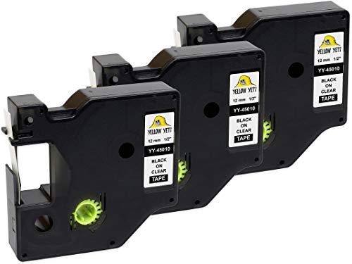 Yellow Yeti 3 Nastri D1 45010 S0720500 nero su trasparente 12mm x 7m Etichette compatibili per Etichettatrici DYMO LabelManager PnP 160 210D 280 360D 420P 500TS MobileLabeler & LabelWriter 450 Duo
