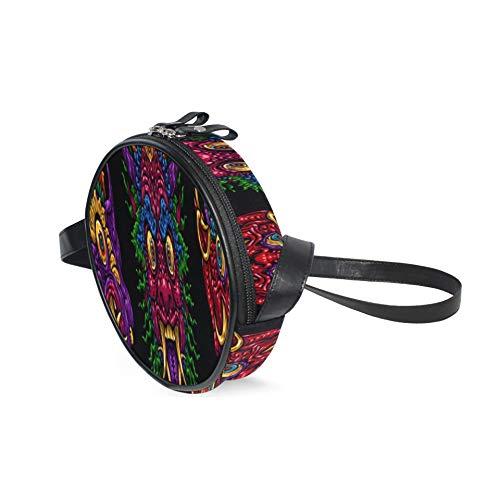 AQQA Phone Crossbody Wallet Indonesia Bali Mask Mitológico balinés elegante bolso bandolera con correa de hombro ajustable Moda círculo bolso de viaje para niñas adolescentes y mujeres