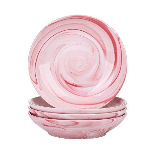 vancasso Serie Claire Platos Hondos 4 Piezas, Platos de Sopa 600ml de Porcelana Patrón Espiral Rosa