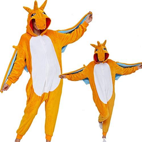Tier Pyjama Onesies Cartoon mit Kapuze Kostüm Onesie Erwachsene Kinder Sleepwear Cosplay Karneval Fasching Home Niedliche Strampler Hausanzug Warm Komfortable Outfit Nachtwäsche Charizard