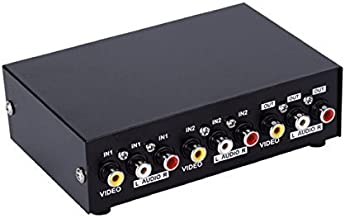 Duttek 2-Port AV Switch RCA Switcher,2 in 1 Out Composite Video L/R Audio Selector Box av Cable Switch av Cable Switch Box Component av selector Switch for DVD STB Game Consolesav selector Switch