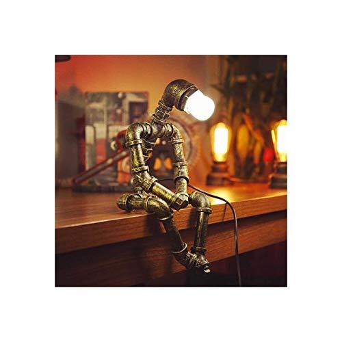 YXX Lámpara de Mesa de Robot de Hierro Creativo Robot Retro Tubería de Agua Lámpara de Mesa Bar Restaurante Café Steampunk Decoración, Luz de Noche, Lámpara de Mesa Retro (Bulbos no incluidos)