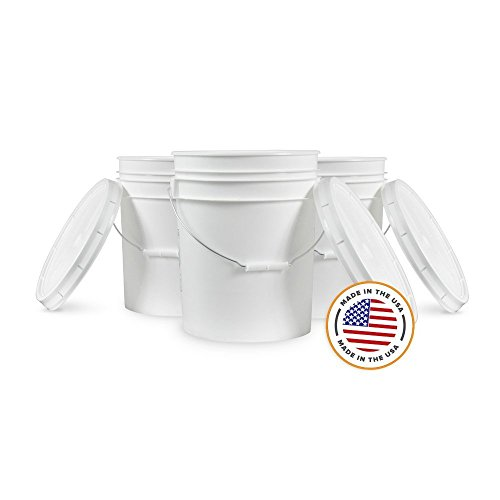 5 Gallon White Bucket & Lid - Set of 6 - Durable 90 Mil All Purpose Pail - Food Grade - Plastic Container