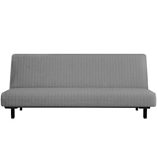 YEMYHOM - Funda para futón con diseño de Jacquard de Alta Elasticidad, sin Brazos, para sofá Cama, Protector Antideslizante para Muebles con Fondo elástico (futón, Gris Claro)