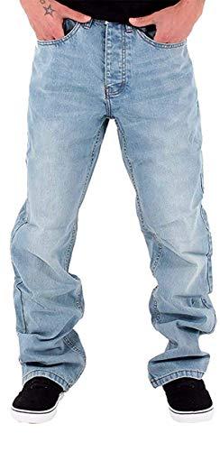 Rocawear Herren Jungen Doppel R-Star locker sitzend Hip Hop Jeans ist Geld G Time SWB - Stone Washed Blau, 32W x 33L
