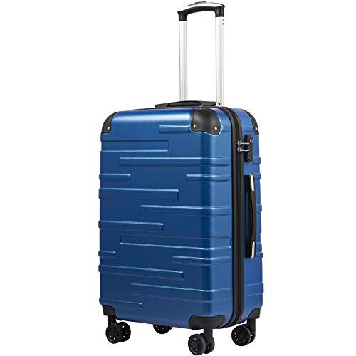 COOLIFE Hartschalen-Koffer Rollkoffer Reisekoffer Vergrößerbares Gepäck (Nur Großer Koffer Erweiterbar) ABS Material mit TSA-Schloss und 4 Rollen (Blau, Großer Koffer)