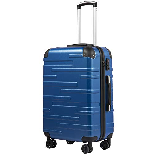COOLIFE Hard Shell Suitcase with TSA Lock and 4 Spinner Wheels Lightweight 2 Year Warranty Durable(Blue, M(67cm 60L))