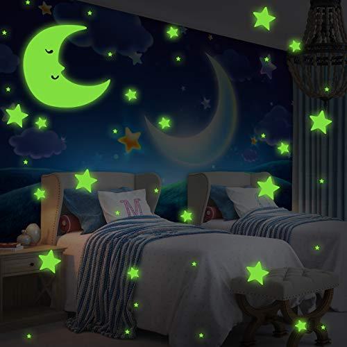 Incutex 533x adesivi fluorescenti luminosi con stelle e luna adesivi da muro autoadesivi fluorescenti con Cielo stellato