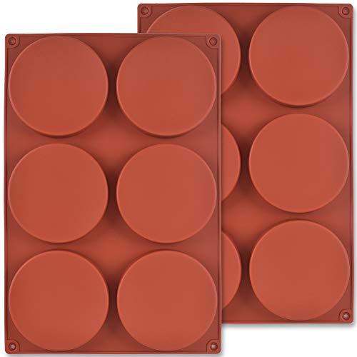 Newk Molde redondo de silicona para tartas, 2 paquetes de 6 cavidades de silicona como molde para pastel de capa, posavasos...