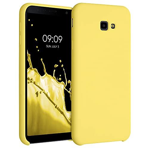 kwmobile Coque Compatible avec Samsung Galaxy J4+ / J4 Plus DUOS - Housse de téléphone Protection Souple en TPU Silicone - Jaune Mat