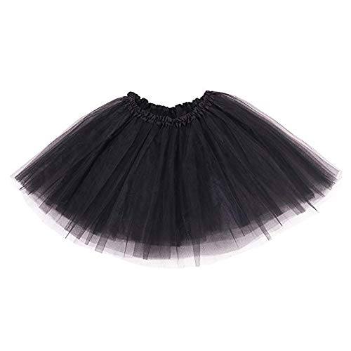 Ruiuzi Mini falda de tutú para mujer, 4 capas, para baile, disfraz, fiesta, Halloween, bailarina rockera Negro Talla única