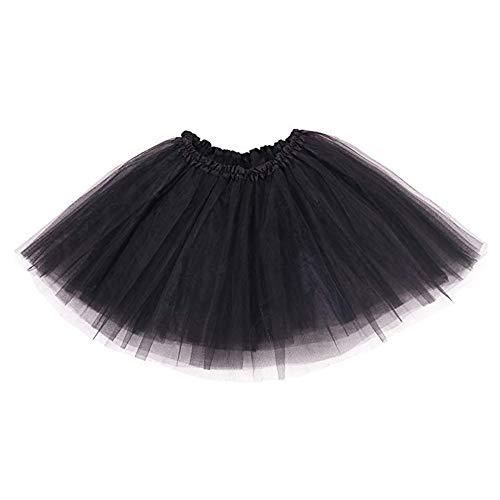 Ruiuzi Tutu Falda de Mujer Falda de Tul 50's Short Ballet 3 Capas Accesorios de Vestimenta de Baile Niñas para Vestirse Disfraces Danza