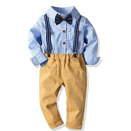 Baby Boys Fashion Gentleman Pants Clothing Set Long Sleeves Shirt+Suspender Colorful Pants+Bow Tie Toddler 4Pcs Set (Blue Stripe, 6-7T/130)
