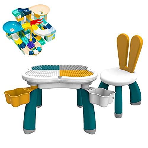 FXQIN Building Blocks Play Table für kinde Bausteine Tisch mit 4 Aufbewahrungsboxen und 85 Steinen, 5 in 1 Kinder aktivitäts Tisch und Stuhl, Lerntisch für Kleinkinder