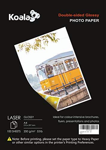KOALA Papel fotográfico láser brillante de doble cara, A4, 200 g/m², 100 hojas, 210x297mm, para todas las impresoras y copiadoras LASER