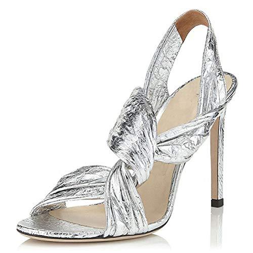 Insole Sandalen High Heel, Sommer Shallow Mund Öffnen Zehe-Kreuz-Bügel-Sling Stiletto Elegante High Heel Für Prom Bankett-Party,Silber,44
