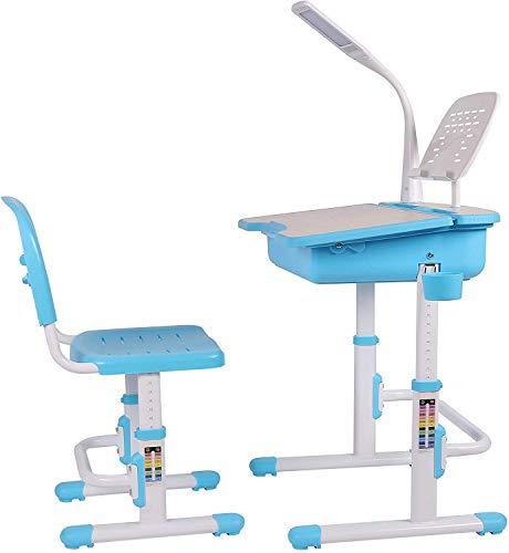 Leomark Ergonomisch Kinderschreibtisch SMART/Blaue Farbe/Schreibtisch und Stuhl höhenverstellbar mit Schublade + LED Lampe + zusätzlich LED- Band kostenlos