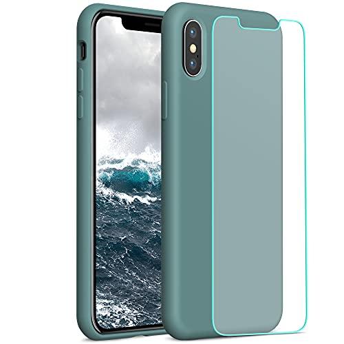 YATWIN Compatible avec Coque iPhone X 5,8'', Compatible avec iPhone XS Coque Silicone Liquide + Verre Trempé, Toucher Confortable, Doublé de Microfibre, Structure à 3 Couches, Vert Pin