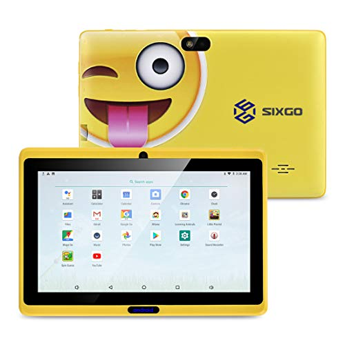 SIXGO Kids Tablets,7 Inch TFT Eye Protection Screen WiFi Andriod Tablets with Dual Cameras Kids Software iwawa Learning Education Tablets Parent Control Mode