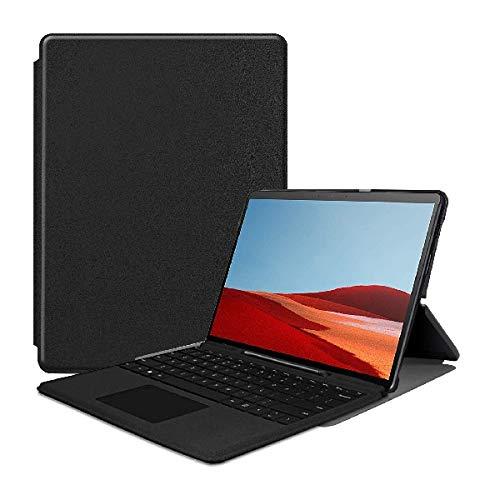 QiuKui Tab Funda para Microsoft Surface Pro X 2019 13 Pulgadas, Funda Protectora de la Cubierta de Cuero magnética para la Superficie Pro X (Color : Negro)