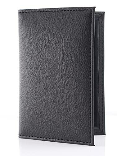 Festland DESIGN® Fahrzeugschein Hülle Ausweishülle Führerschein Mappe Schwarz mit 2 Sichtfenstern für Frauen & Männer aus Kunstleder (Schwarz 1 Stück)