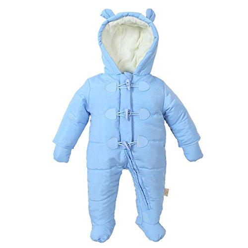 Bebone Bebone Baby Schneeanzug Jungen Mädchen Strampler Winter Babybekleidung (Blau, 6-9 Monate)