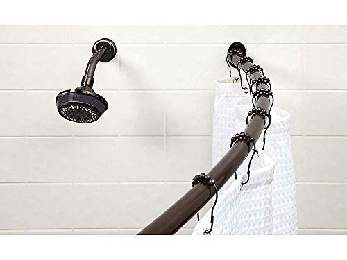 Bath Bliss Wall Mounted Adjustable Curved Bathroom Shower Oil Rubbed Bronze -Shower rod-Shower rod curved tension-Curved shower rods for bathroom-