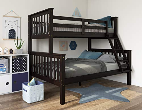 Palace Imports 100% Solid Wood Mission Twin Over Full Bunk Bed 4146, Java