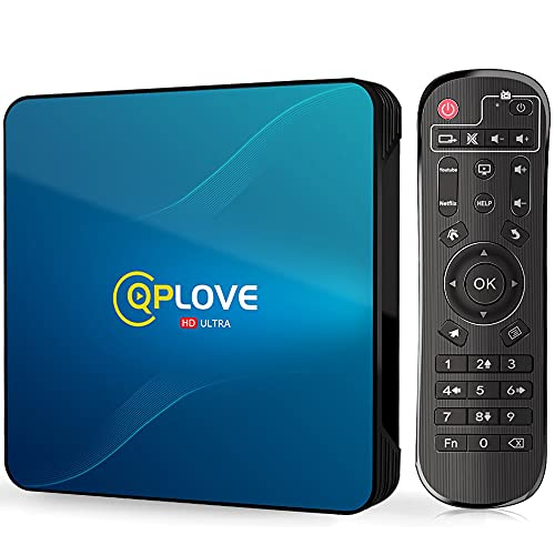 Android TV Box 10.0, Q8 QPLOVE TV BOX 4GB 64GB RK3318 Quad Core Cortex A53 Dual WiFi 2.4G 5G 100M Ethernet BT4.0 3D 4K Smart TV Box