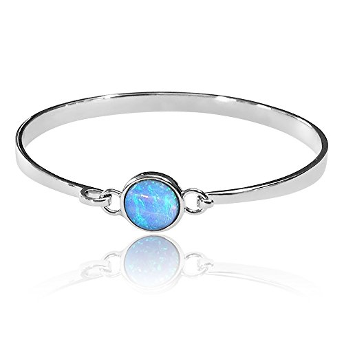 Pulsera de plata de ley con ópalo azul de color vibrante