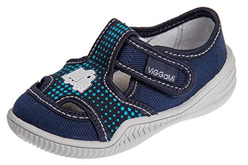 Viggami - Zapatillas de estar por casa para niño con cierre de velcro o de clip, color Azul, talla 20 EU