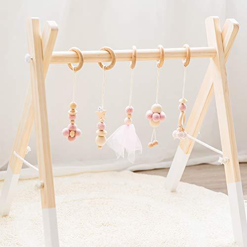 Okawari Home ベビージム 木製 ナチュラル ベビーカー用おもちゃ付き ベッドぶら下げ プレイジム 知育玩具 セットアイテム 子ども部屋 出産祝い 新生児 誕生日 プレゼント 贈り物