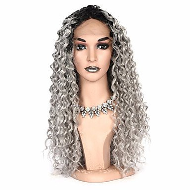 Wigs Synthetic Lace Front Curly Bob Haircut/Pixie Cut Synthetic Hair Party/Synthetic/Ombre Hair Gray/Ombre Women's Long Lace Front, 20Inch