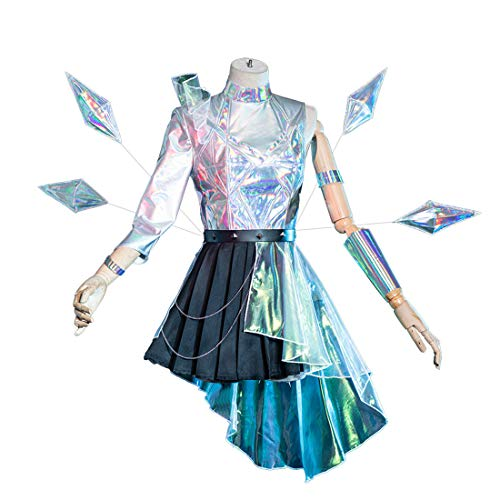dataoeryingshiwenhuachuanmei LOL KDA - Disfraz de seraphine para Halloween, cosplay, disfraz con alas, cosplay, fiesta, fantasa, juego de ropa