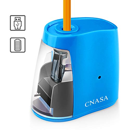 Electric Pencil Sharpener, Pencil Sharpener with Auto Safe Feature,Portable Electric Sharpener for Home/School/Classroom/Office,USB or 2AA Batteries Operated (Blue2)