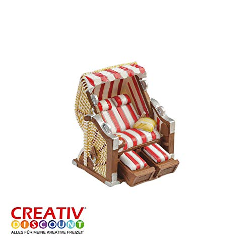 CREATIV DISCOUNT® NEU Mini- Strandkorb Rot-Weiß, ca. 6,5 x 6,5 x 5cm