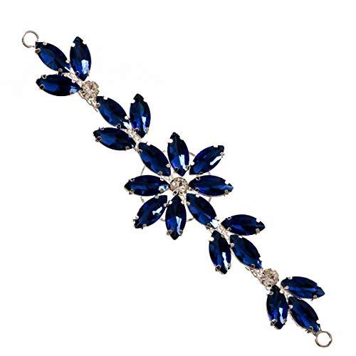 Trimming Shop Bonito parche de costura con diamantes de imitación de color azul real para vestido de novia, casual o formal, accesorios de moda – 14 x 4 cm