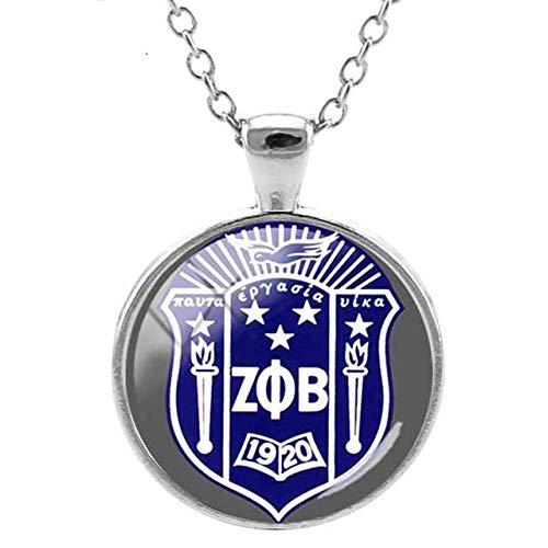 Zeta Pa Beta collar Z & B redondo colgante collares cabujón de cristal moda estilo alfabeto griego ZP07