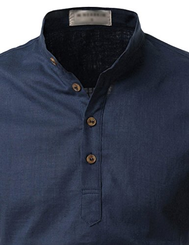 NEARKIN (NKNKN350) Beloved Men Henley Neck Long Sleeve Daily Look Linen Shirts NAVY US S(Tag size S)
