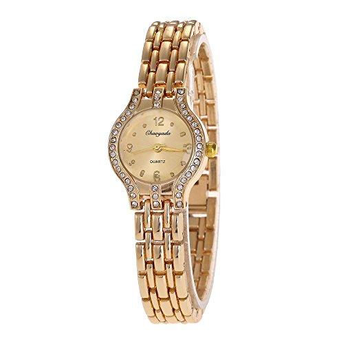 SJXIN Stilvolle Uhr Armband-Uhr-Frauen-Tendenz-Legierungs-Quarz-Uhr-Disketten-Diamant-Uhren Modeuhren (Color : 1)