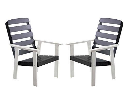 Ambientehome 90322 chaise de jardin en polyrotin de 2 maxi bois massif blanc/gris