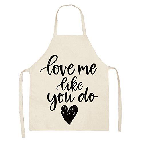 Hiikk Delantal Cocina Mujer Delantal Estampado del Día De San Valentín Delantal Antiincrustante Multifuncional De Algodón Y Lino Modelos Adultos Modelos para Niños-Wql0209-25_47X38