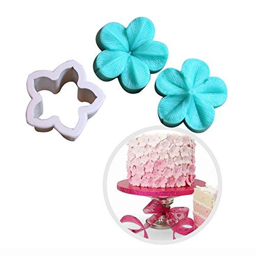 KALAIEN 5 Petals Flower Embossing Mould Flower Cake Design Moulds Gumpaste Molds for Cupcake